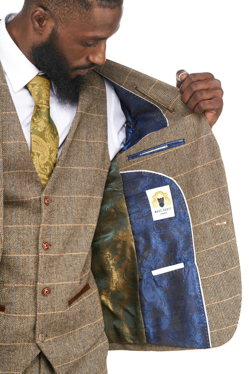 Ted Tan Check Tweed Wedding Suit
