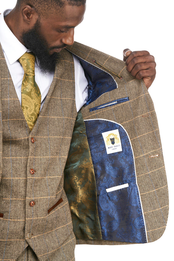 Brown Tweed Check Blazer |  Mens Tweed Jackets | Mens Tweed Suits | Marc Darcy Menswear