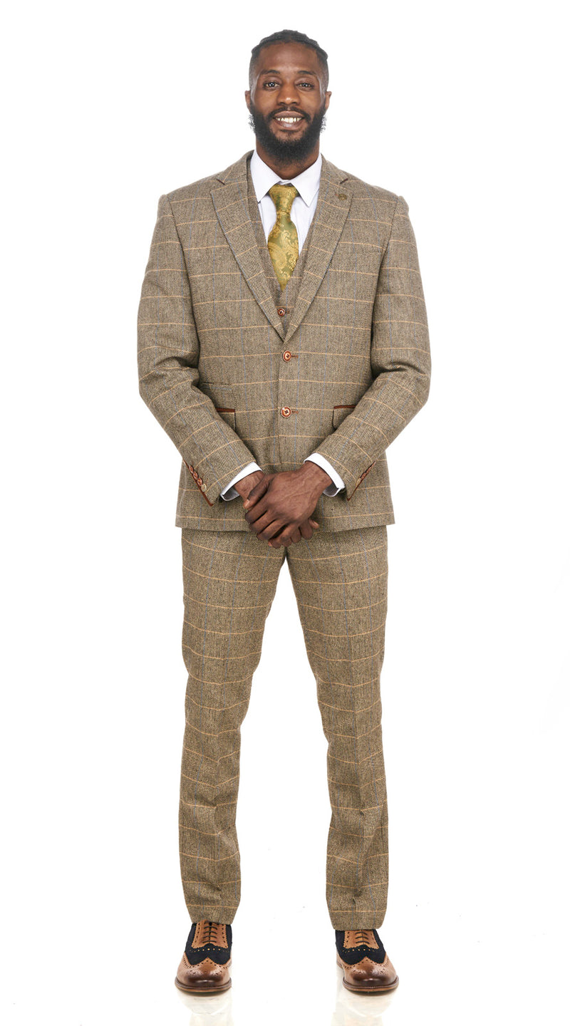 Brown Tweed Wedding Suits | Mens Tweed Suits | Marc Darcy Menswear | Marc Darcy Ted Tan Suit