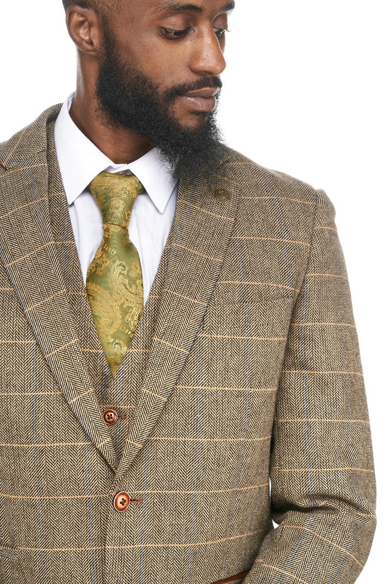 Brown Tweed Check Wedding Suits  | Mens Tweed Suits | Marc Darcy Suits