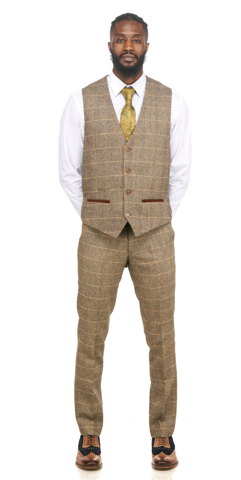 Brown Tweed Waistcoats |  Mens Tweed Waistcoats | Mens Tweed Suits | Marc Darcy Suits