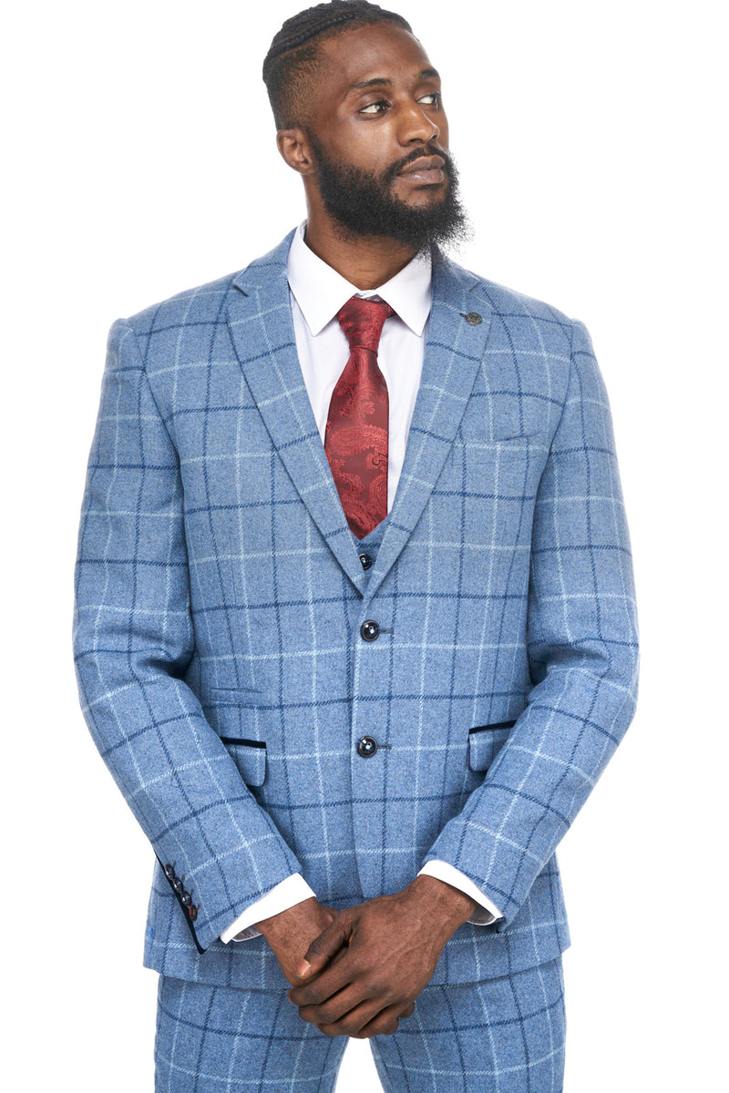 Clinton Blue Tweed Check Three Piece Suit | Mens Tweed Suits