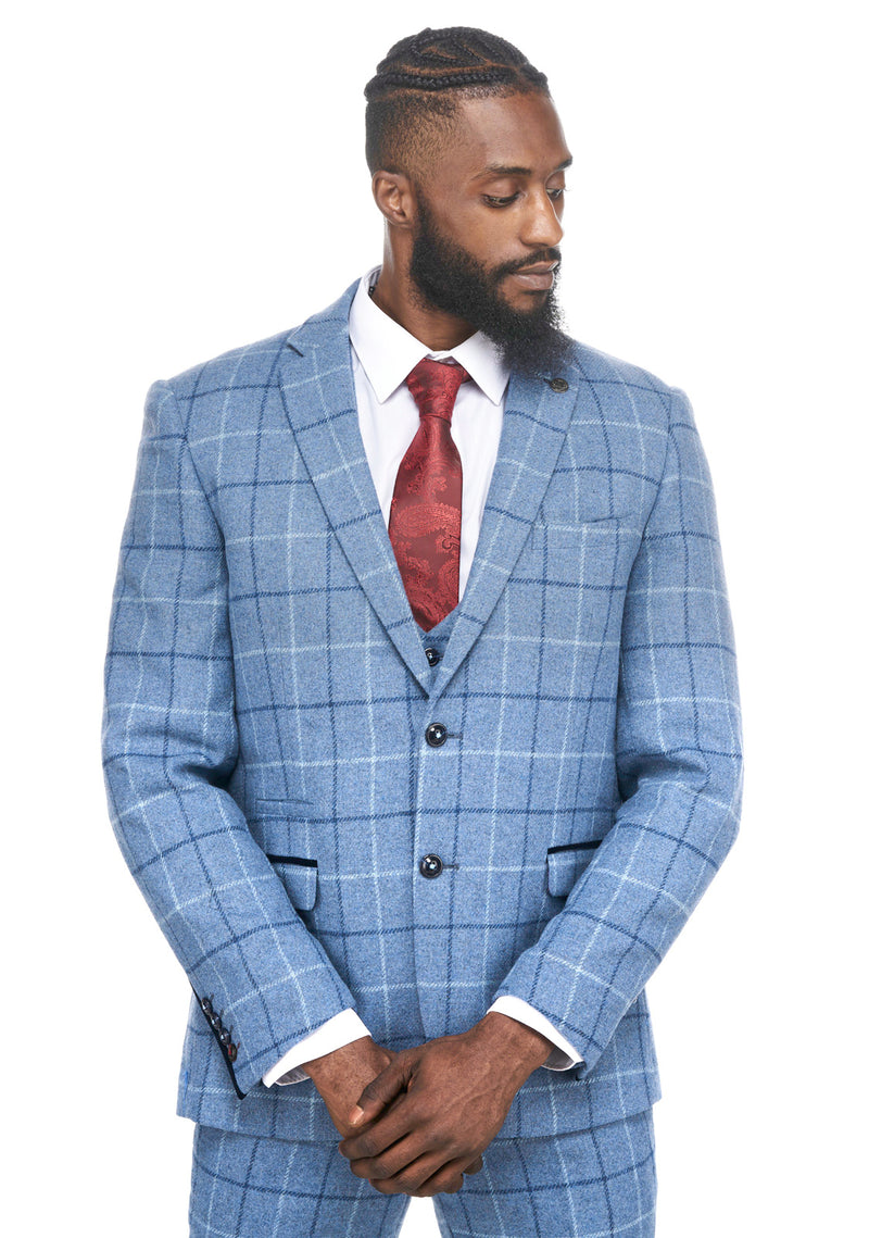 Marc Darcy | Clinton Blue Tweed Check Blazer | Mens Tweed Suits