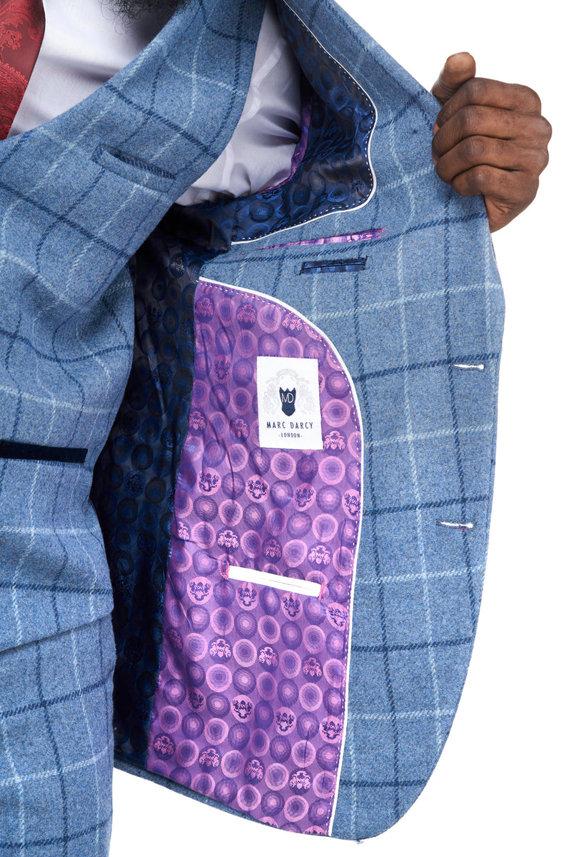 Clinton Blue Tweed Check Blazer