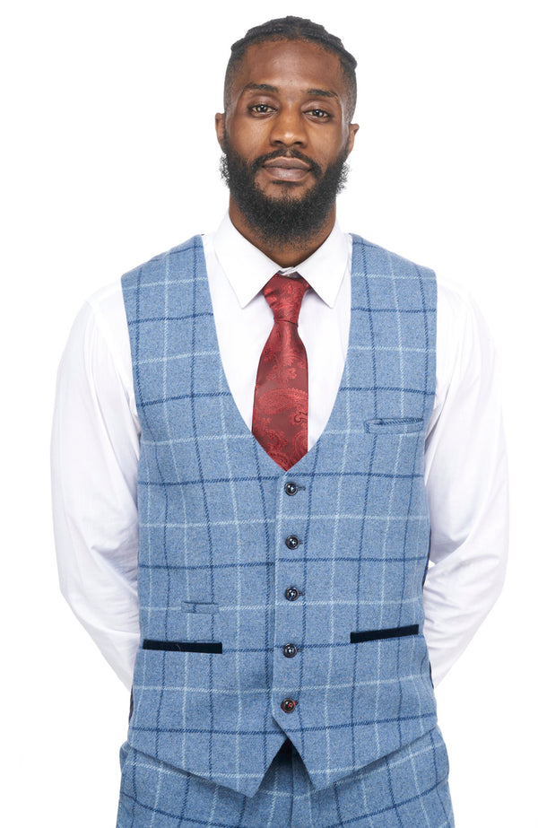 Marc Darcy | Clinton Navy Tweed Check Waistcoat | Mens Tweed Suits