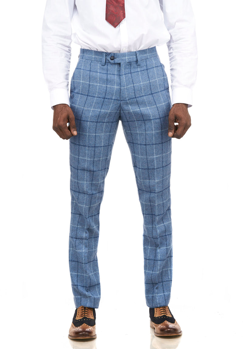 Marc Darcy | Clinton Blue Tweed Check Trousers | Mens Tweed Suits