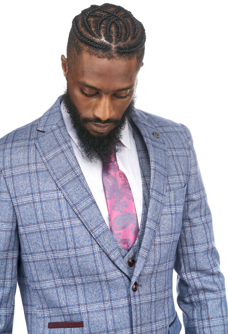 Mens Blue Tweed Check Three Piece Suit | Marc Darcy | Mens Tweed Suits