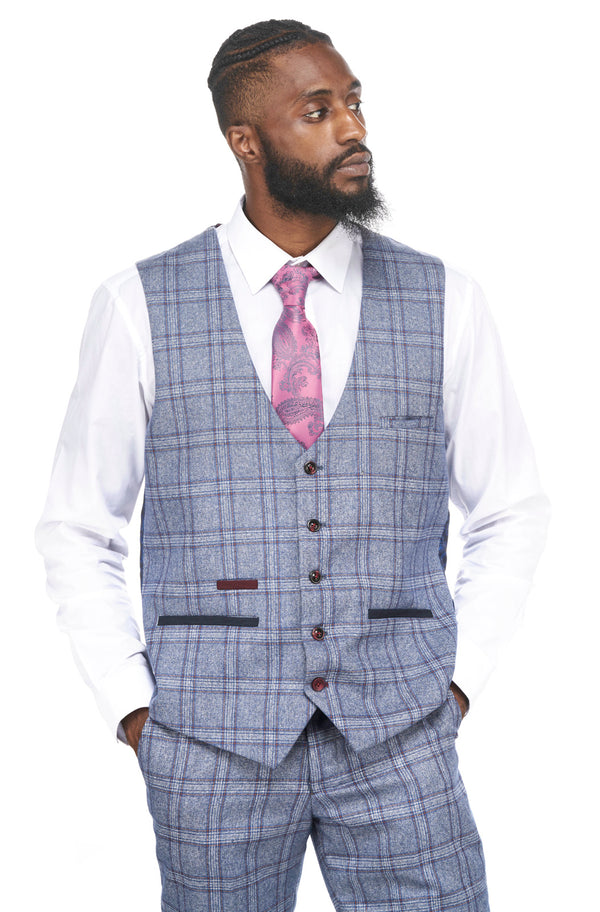 Mens Blue Tweed Check Waistcoat | Marc Darcy Waistcoats | Mens Tweed Suits
