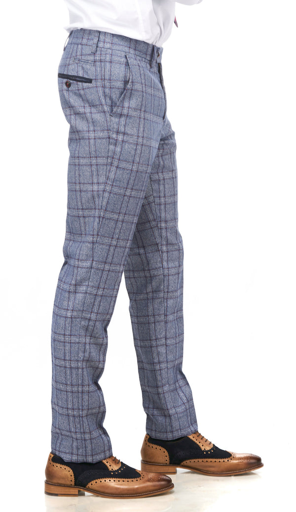 Abbott Blue Tweed Check Trousers