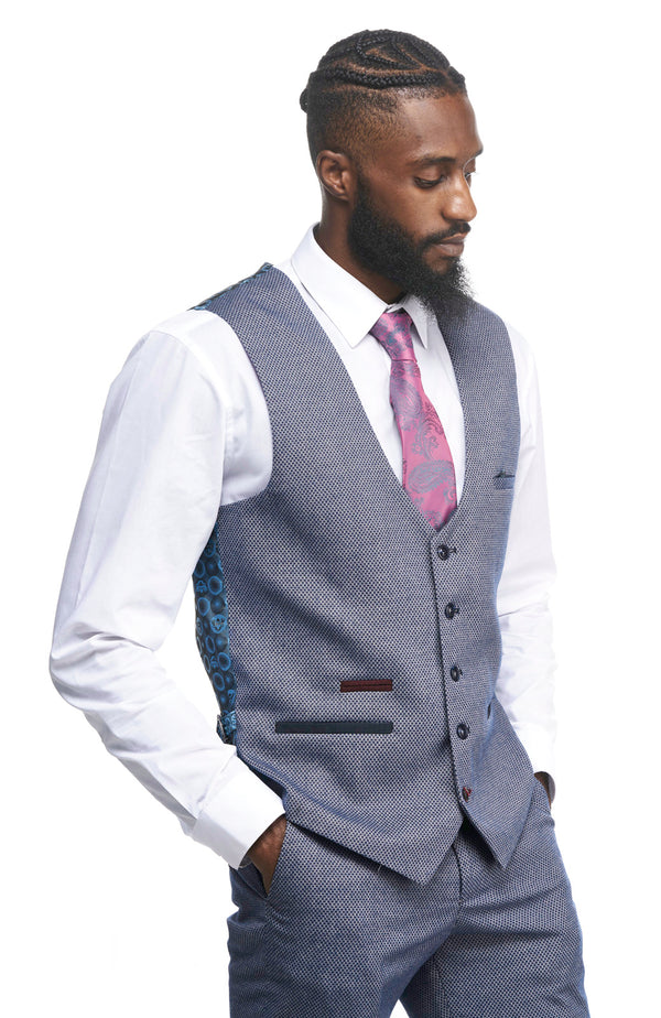 Marc Darcy | Wilson Navy Birdseye Trousers | Mens Tweed Suits