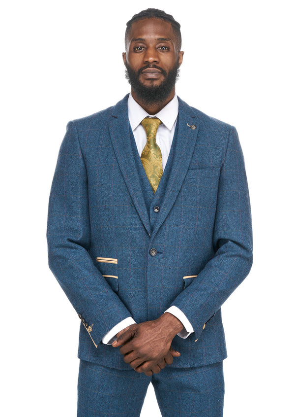 Blue Tweed Blazer | Mens Tweed Jackets |  Mens Tweed Suits | Marc Darcy Suits