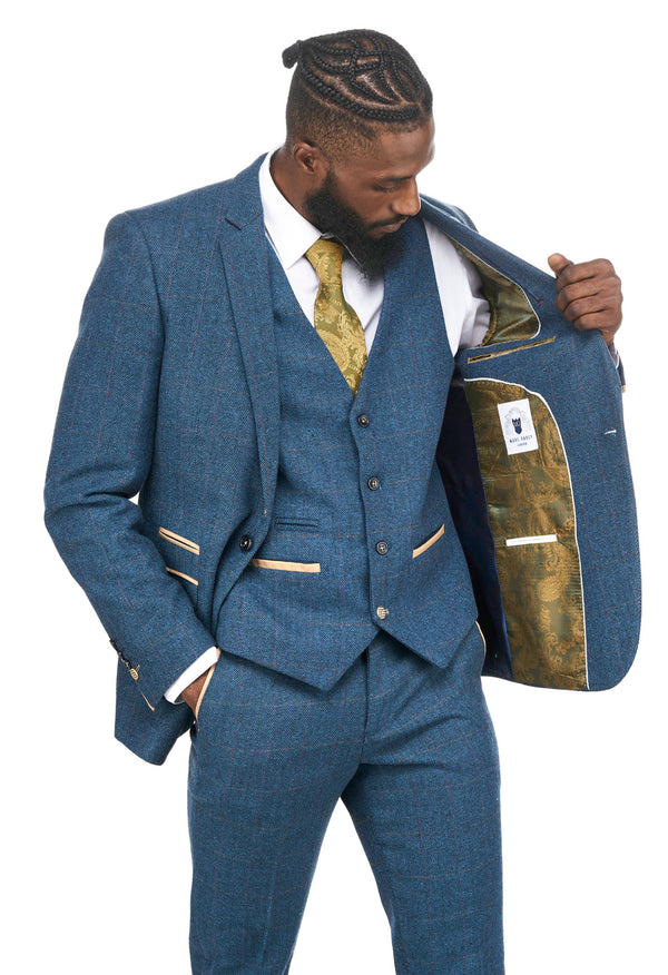 Blue Tweed Check Wedding Suits | Mens Tweed Suits | Dion Marc Darcy Menswear