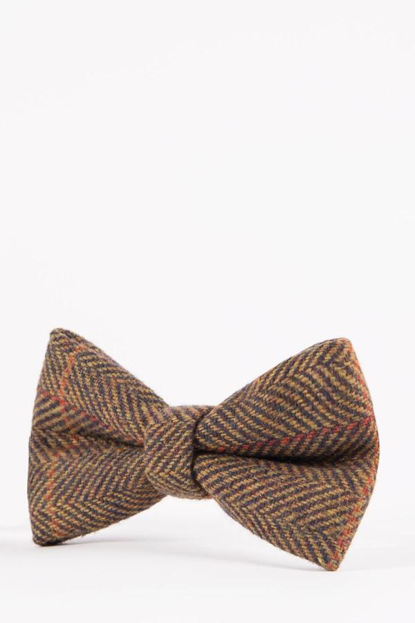NELSON - Tan Multi Tonal Check Tweed Bow Tie | Marc Darcy