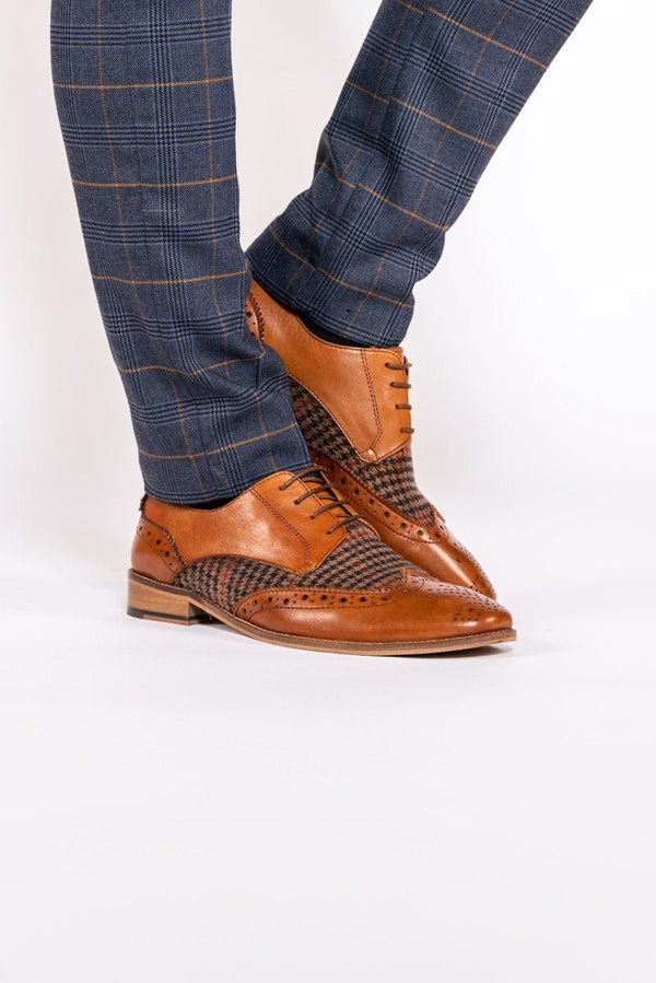 Jacob Tan Leather Tweed Contrast Brogue Shoe - Mens Tweed Suits