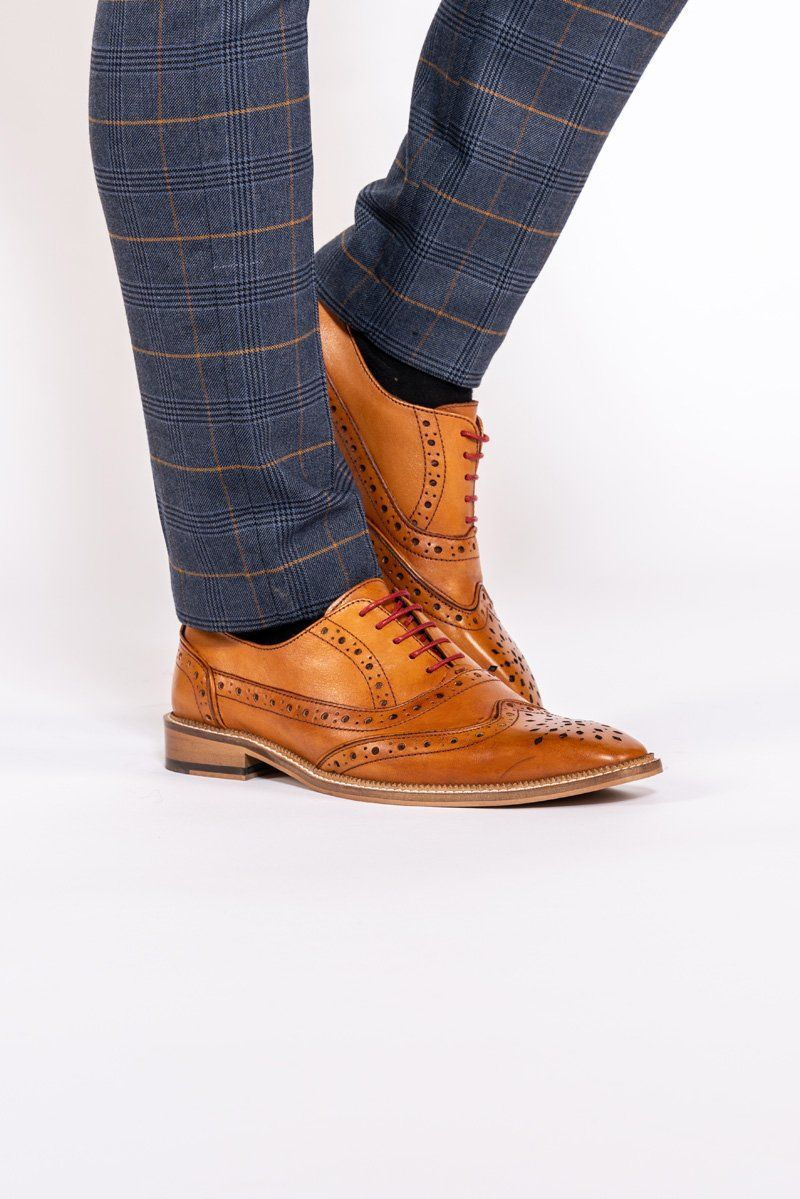 Tan Leather Brogue Shoes | Tan Brown Wedding Shoes | Mens Tweed Suits