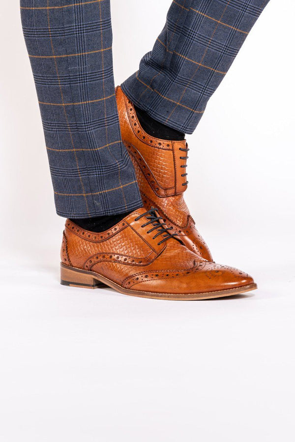 Ramsey Tan Leather Brogue Shoe - Mens Tweed Suits