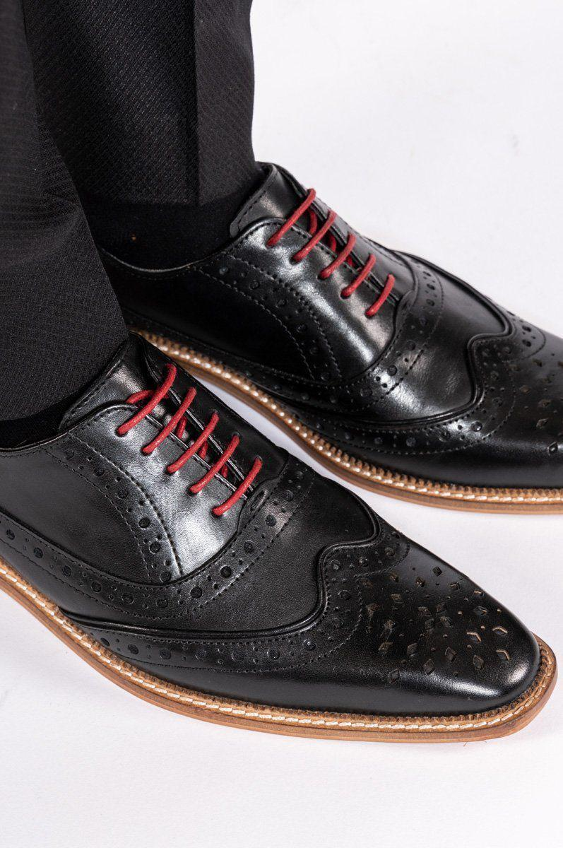 Black Leather Brogue Shoe | Black Wedding Shoes | Mens Tweed Suits