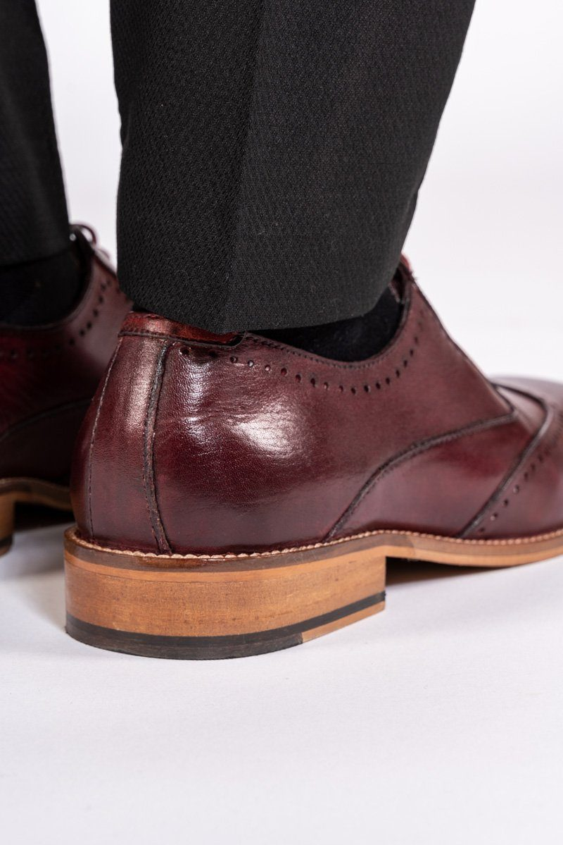 Carson Bordeux Burgundy Wingtip Brogue Shoe - Mens Tweed Suits