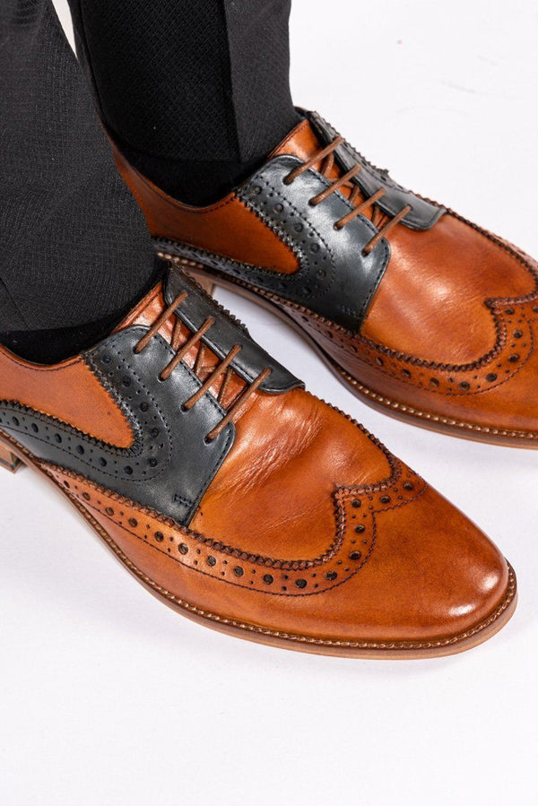Riley Tan Navy Leather Contrast Oxford Brogue Shoes - Mens Tweed Suits