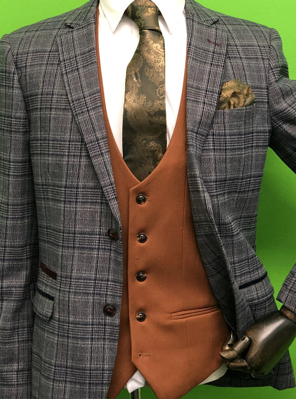 Enzo Grey Tweed Suits With a Tan Contrasting Waistcoat, Gold Paisley Pint Tie Set