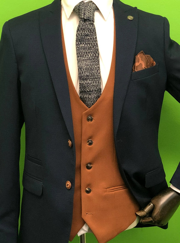 Max Navy Suit with Kelly Tan Waistcoats, Navy Marl Knitted Tie and Camo Pocket Square