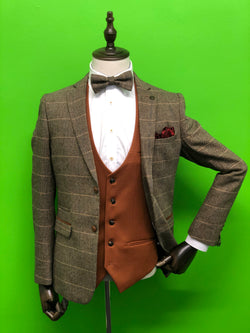 Brown Tweed Suit With Matching Bow Tie, Contrast Tan Waistcoat and Wine Paisley Tie Set