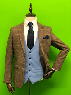 Brown Tweed Suits with Sky Blue Contrast Waistcoat and Navy Paisley Print Tie Set