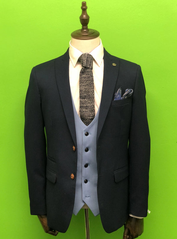 Royal Blue Suit with Sky Blue Waistcoat Navy Marl Knitted Tie