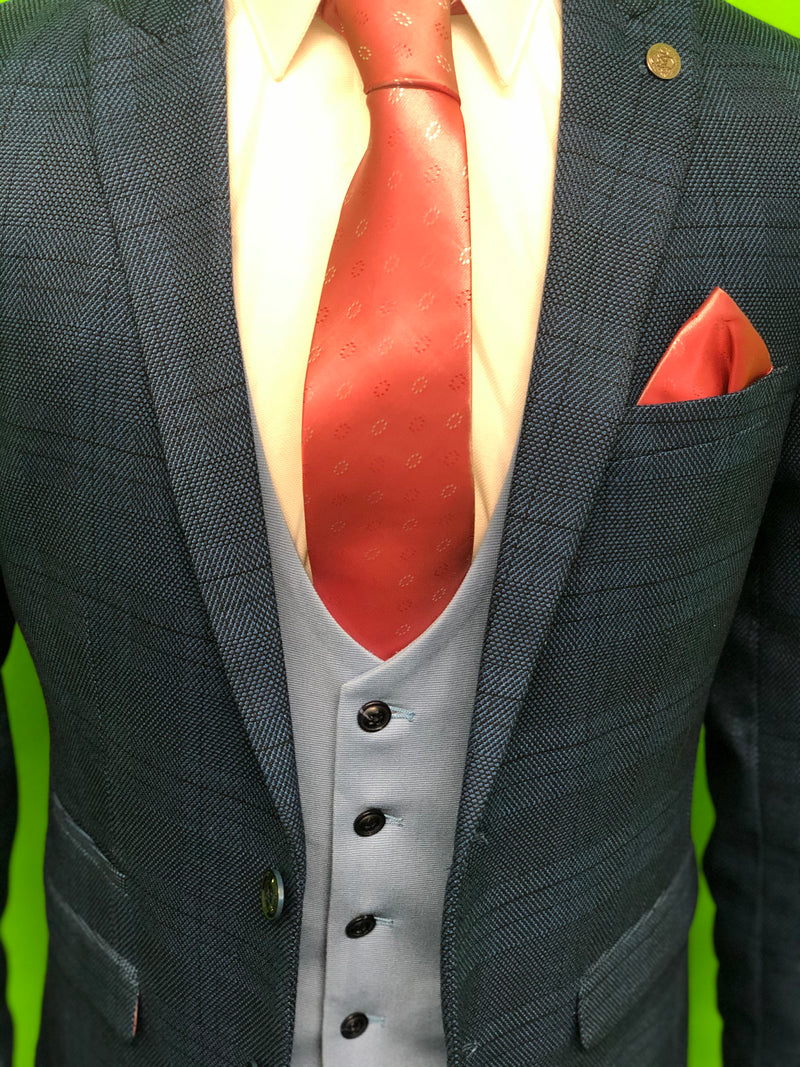 Blue Check Tweed Suit with Sky Blue Waistcoat and Pink Tie Set