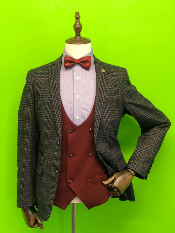 Blue Tweed Check Suits with Wine Double Breasted Waistcoat and Wine Bow Tie