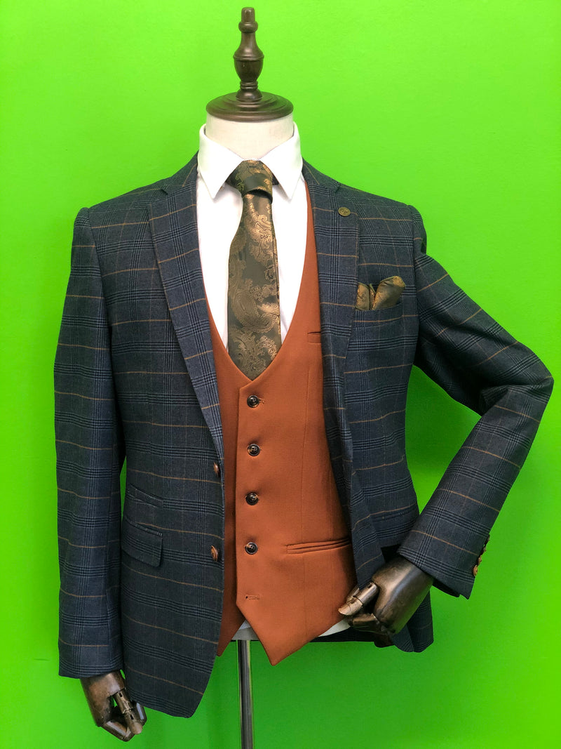 Navy Gold Check Suit with Tan Waistcoat and Gold Paisley Print Tie Set