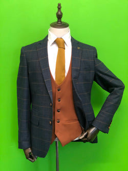 Navy Check Suits With Contrast Tan Waistcoat and Tan Knitted Tie