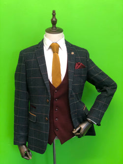Navy Tweed Check Suits With Wine Contrast Waistcoat and Tan Knitted Tie