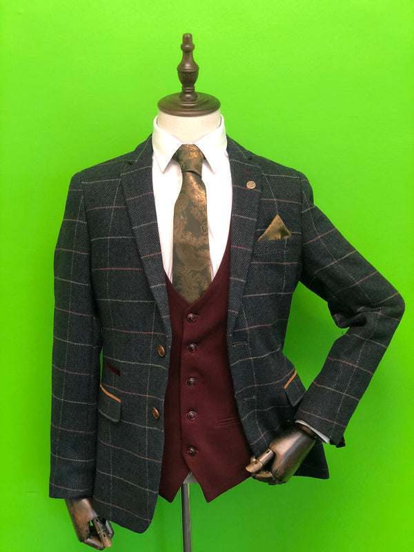 Navy Tweed Suit with Contrast Wine Waistcoat and Gold Paisley Print Tie Set