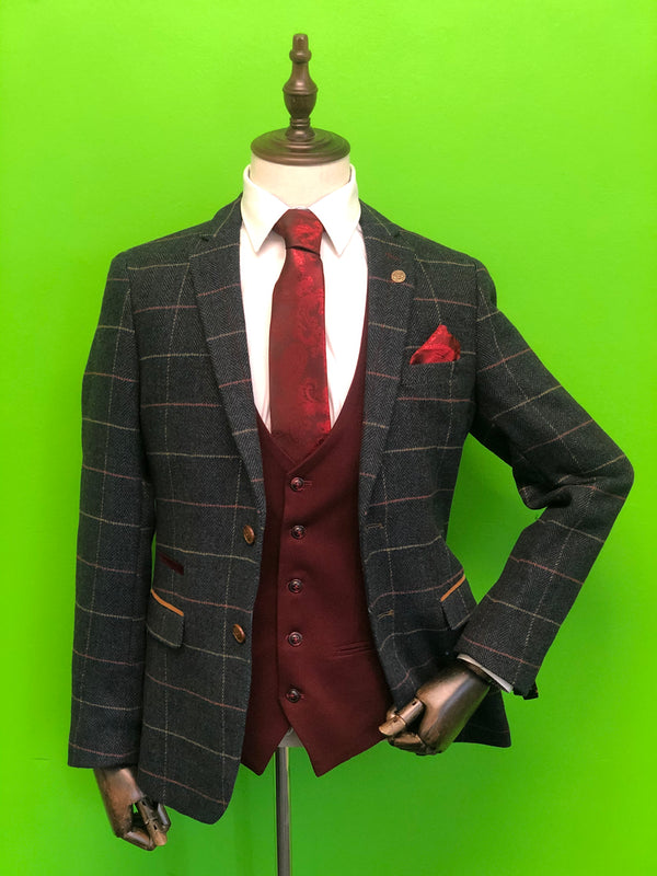 Navy Tweed Suit with Contrasting Wine Waistcoat and Wine Paisley Print Tie Set