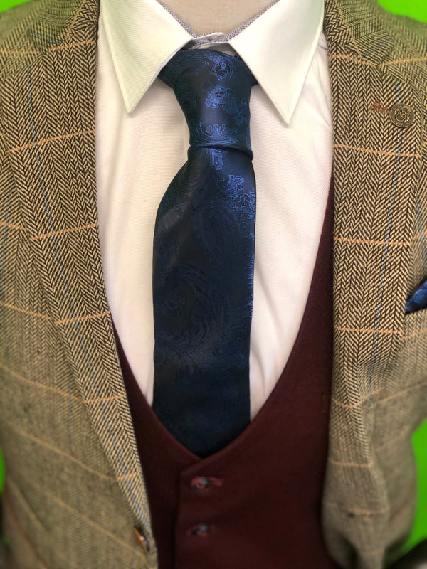 Brown Tweed Suits with Wine Contrast Waistcoat and Navy Paisley Print Tie Set