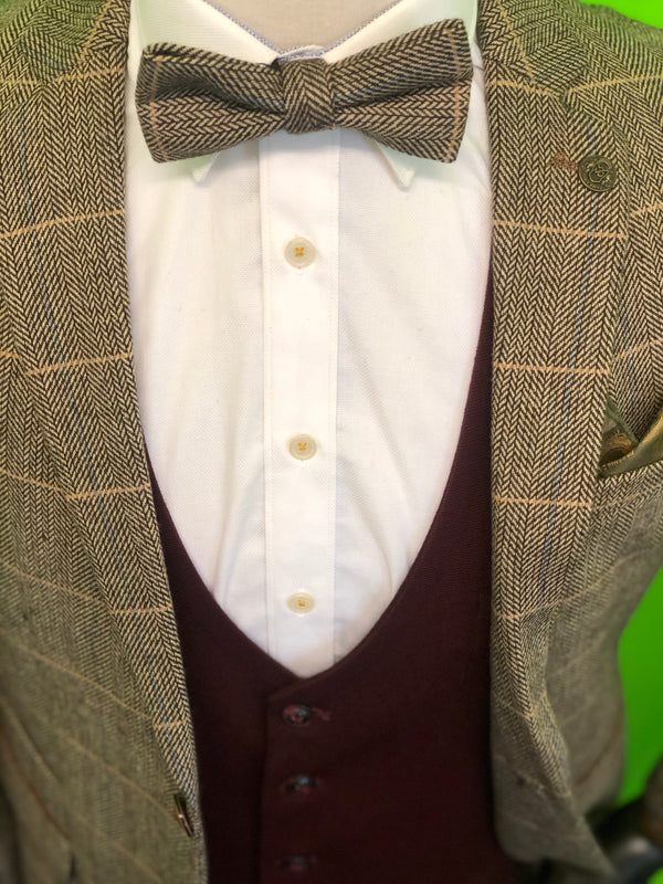 Brown Tweed Suit With Wine Waistcoat and Brown Tweed Bow Tie