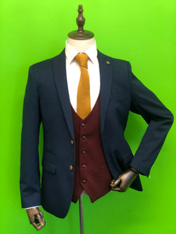 ROYAL BLUE SUIT WITH WINE WAISTCOAT AND TAN KNITTED TIE