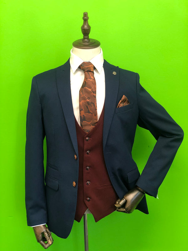 Royal Blue Suit with Wine Waistcoat and Army Camo Tie Set