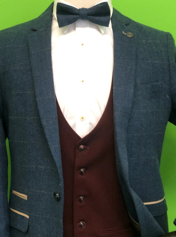 Blue Tweed Suit with Wine Waistcoat and Blue Tweed Bow Tie