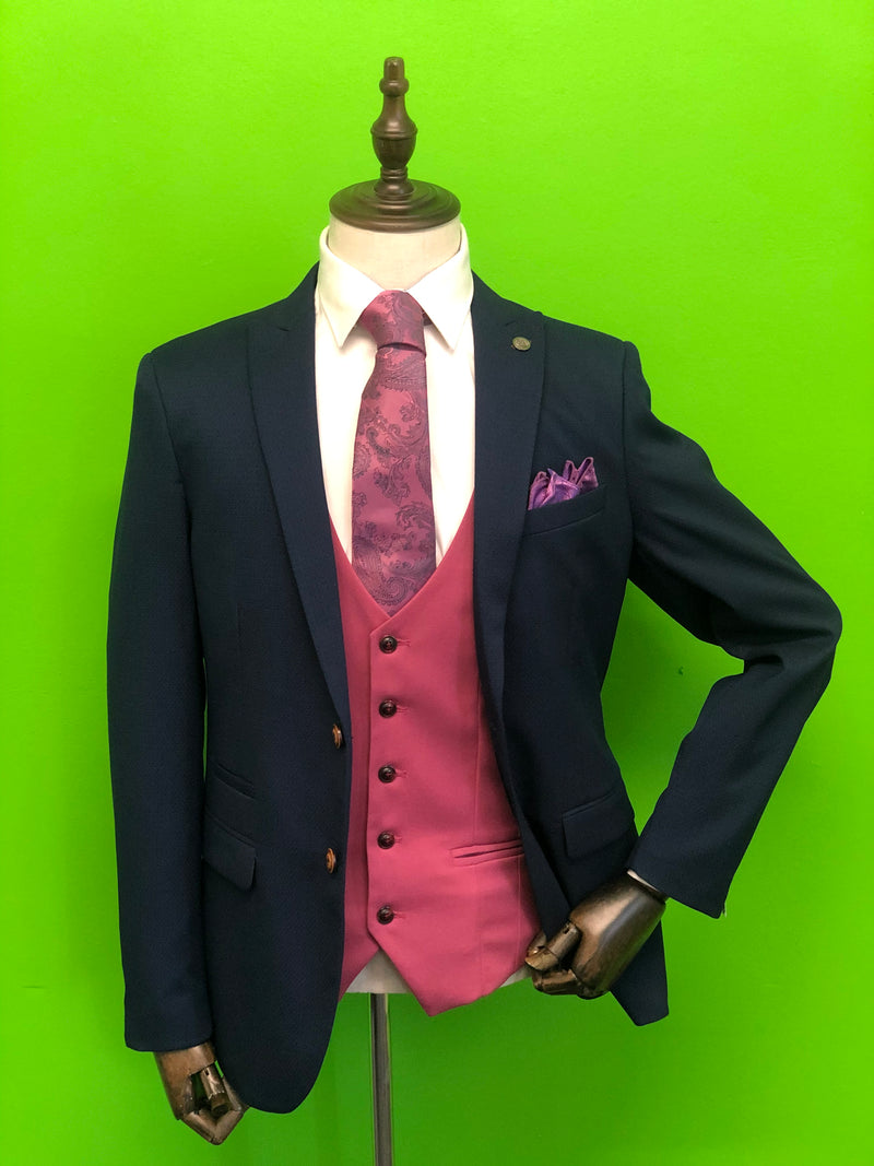 Royal Blue Suit with Pink Waistcoat and Pink Paisley Print Tie Set