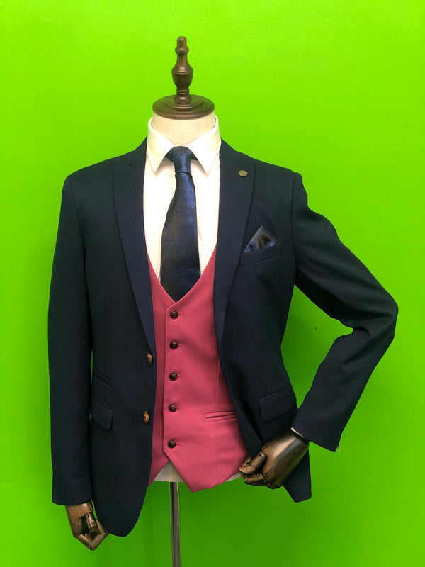Royal Blue Suit with Wine Waistcoat and Navy Paisley Print Tie Set