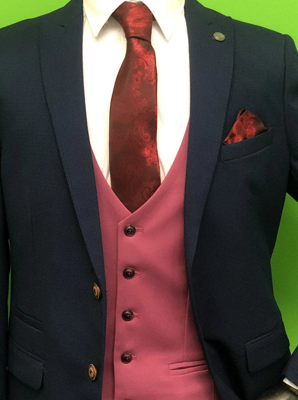 ROYAL BLUE SUIT WITH PINK WAISTCOAT AND RED PAISLEY PRINT TIE SET