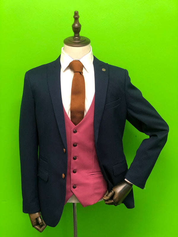 Royal Blue Suits with Pink Waistcoat and Tan Knitted Tie