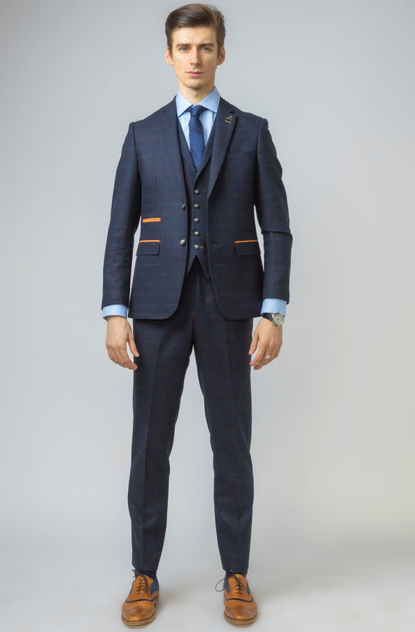 Ryan Navy Blue Tweed Check 3 Piece Suit