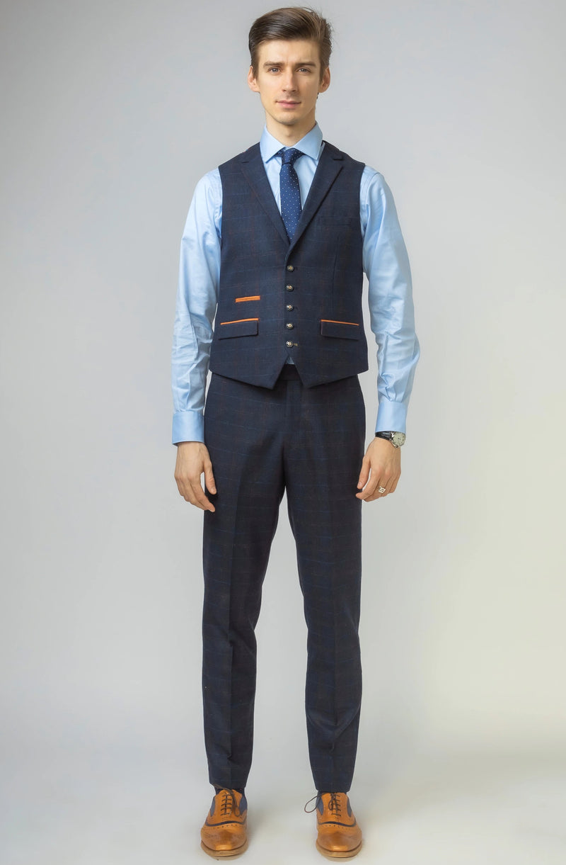 Navy Double Breasted Tweed Suit | Robert Simon Suits | Mens Tweed Suits