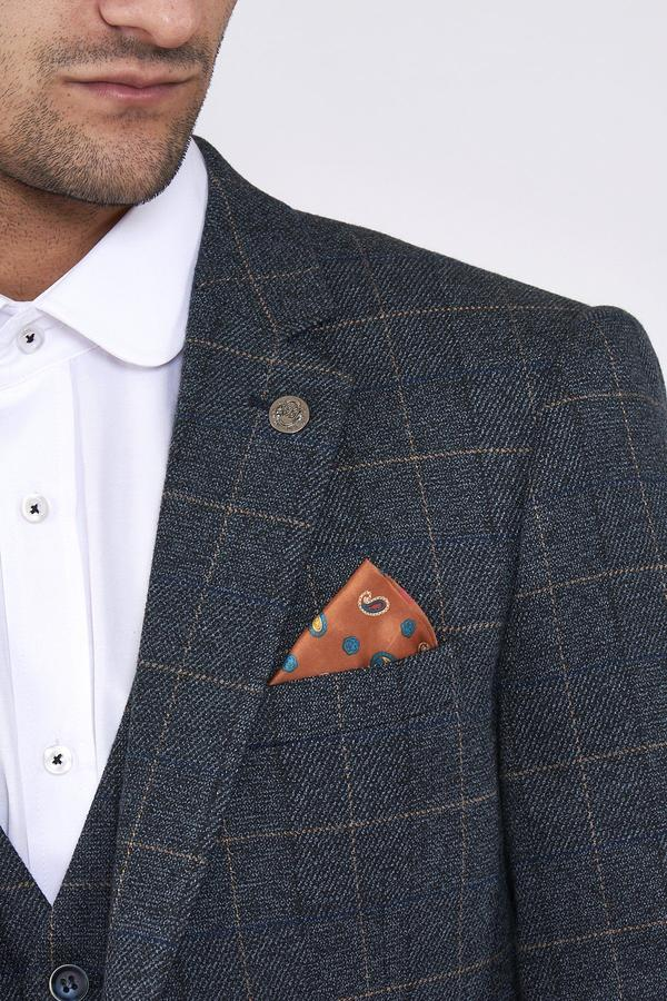 Scott Blue Check Tweed Wedding Suit - Mens Tweed Suits