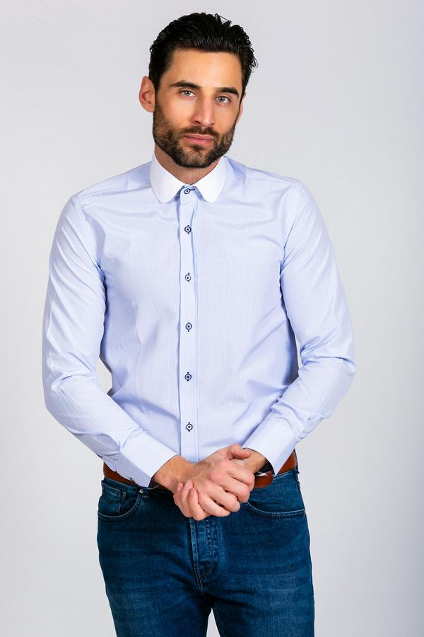 SHELBY - Sky Blue Stripe Penny Collar Shirt | Marc Darcy menstweedsuits grey wedding