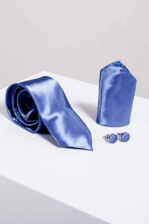 ST Satin Tie, Cufflink & Pocket Square In Sky Blue - Mens Tweed Suits