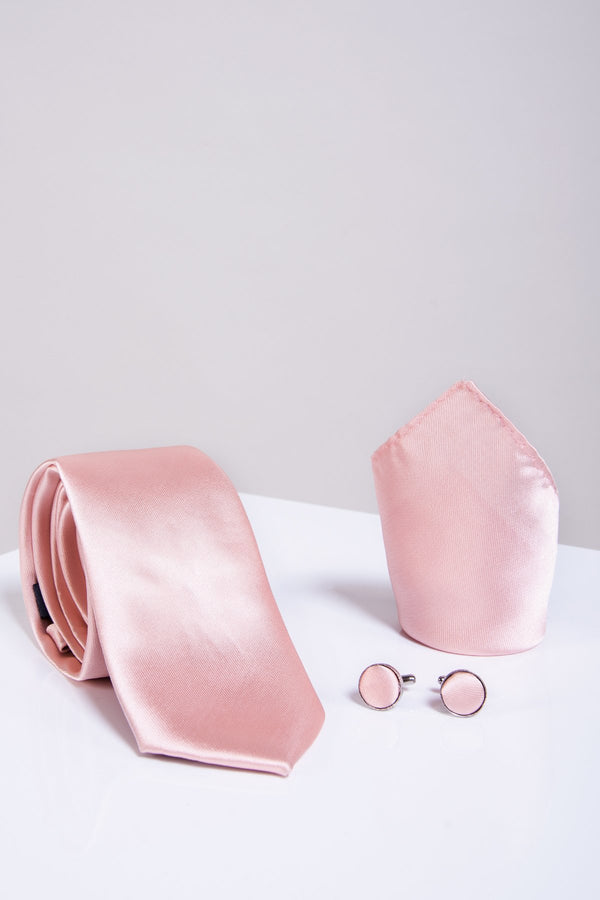 ST Satin Tie, Cufflink & Pocket Square in Blush Pink - Mens Tweed Suits